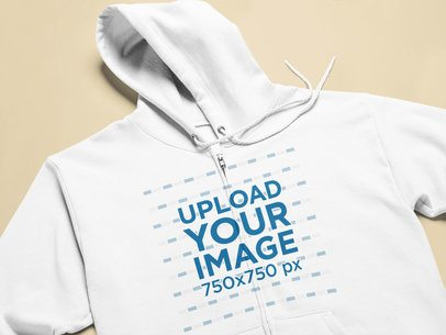 Closeup Mockup of a Hoodie Laid on a Flat Surface 25349