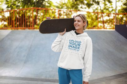 Mockup of a Teen Skater Girl Wearing a Hoodie 34102-r-el2