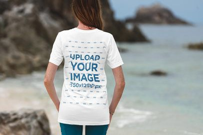T-Shirt Mockup of a Woman Contemplating the Ocean 3330-el1