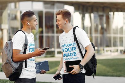 V-Neck Tee Mockup of Two Friends with Headphones Chatting at a Campus 34235-r-el2