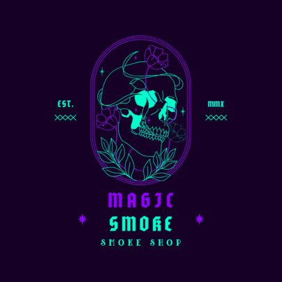 Logo Generator for a Smoke Shop with a Skull Graphic 3134a