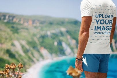 T-Shirt Mockup of a Man at the Top of a Mountain 34962-r-el2