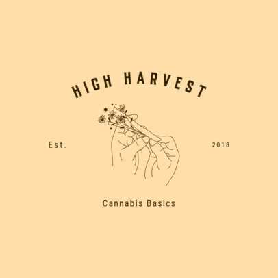 Cannabis Store Logo Maker Featuring a Minimalist Outline Drawing 3224g