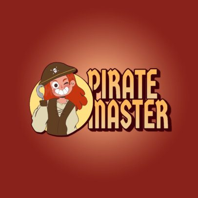 Gaming Logo Template Featuring a Smiling Pirate Cartoon 3236k