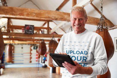 Mockup of a Boxing Coach Wearing a Sweatshirt 34210-r-el2
