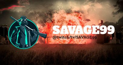 Gaming Twitch Banner Generator with a Masked Warrior Holding a Rifle 2510d