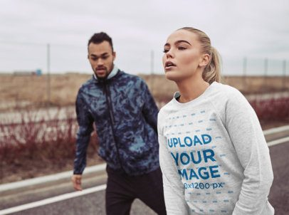 Mockup of a Woman with a Heathered Sweatshirt Jogging with a Friend 34011-r-el2