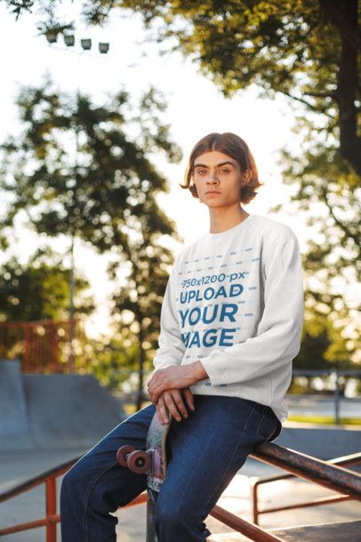 Mockup of a Long-Haired Skater Wearing a Sweatshirt 34030-r-el2