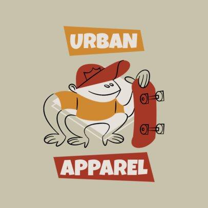 Urban Apparel Logo Maker with a Skating Monkey Cartoon 3227d