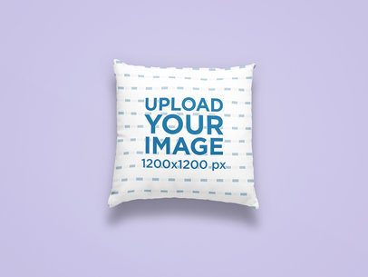 Mockup of a Squared Pillow Centered on a Colored Surface 25315