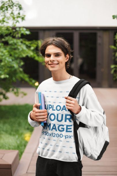 Crewneck Sweatshirt Mockup of a Teenager Outside a School 34025-r-el2