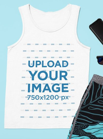 Mockup Featuring a Customizable Tank Top Lying Among Other Items 33713