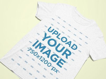 Closeup View Mockup of a Heather Tee on a Flat Surface 25589