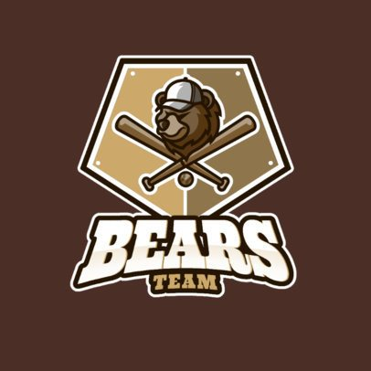 Sports Logo Template For a Baseball Team with a Bear Graphic 1340b-el1