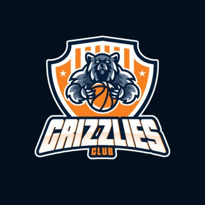Basketball Logo Template Featuring a Grizzly Bear Graphic 1340g-el1