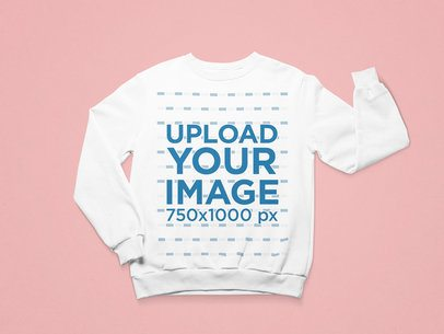 Flat Lay Mockup of a Round Neck Sweatshirt Placed on a Solid Surface 25724