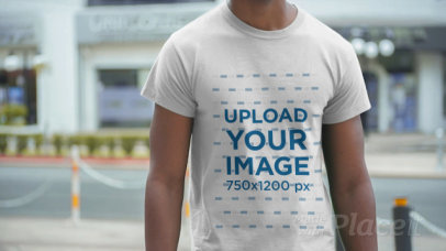 Cropped Face Video of a Man Wearing a T-Shirt in the Street 12353