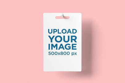 Mockup Featuring a Gift Card Hanging Against a Solid Color Backdrop 4071-el1