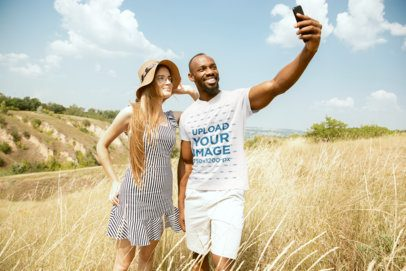 T-Shirt Mockup Featuring a Man Taking a Selfie with a Friend 34321-r-el2