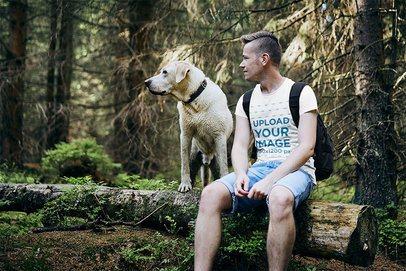 T-Shirt Mockup of a Man Hiking with His Dog 34295-r-el2