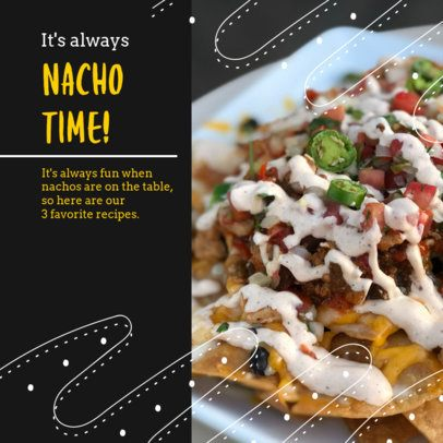 Food-Themed Instagram Post Design Maker for a Nachos Recipe 2526l