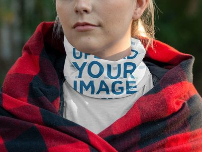 Mockup of a Young Woman Wearing a Neck Gaiter 36142