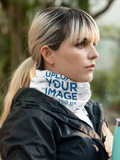 Mockup of a Young Woman Wearing a Neck Gaiter on the Street 36141