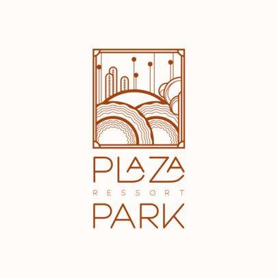 Art Deco Logo Template with a Geometric Landscape Graphic 3254c