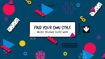 YouTube Banner Template Featuring Colorful Memphis Shapes 2521a