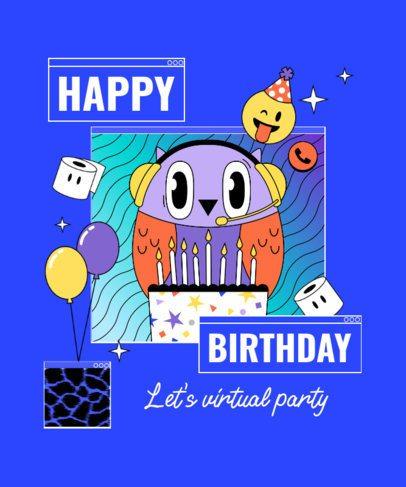 T-Shirt Design Template to Celebrate a Birthday During Quarantine 2529l