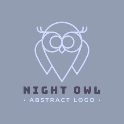Simple Logo Template Featuring an Owl Outline 1394a-el1