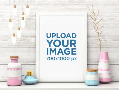 Mockup Featuring an Art Print Among Pastel-Colored Ceramic Vases 3970-el1