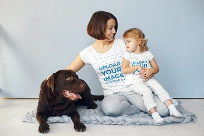 Tee Mockup of a Mother Posing with Her Baby Her Dog 34232-r-el2