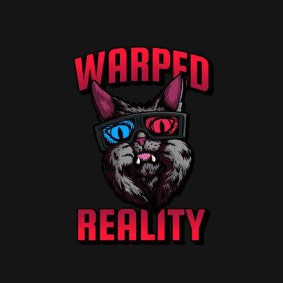 Logo Generator of an Urban Style Cat Wearing 3D Glasses 3266l