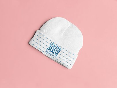 Mockup of a Flat Laid Beanie on a Plain Surface 25341