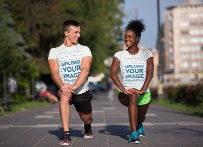 T-Shirt Mockup of a Couple Training on the Street 34511-r-el2