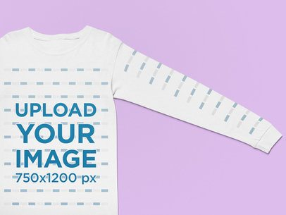 Mockup of a Customizable Long Sleeve Tee on a Flat Surface 25572