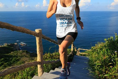 Tank Top Mockup of a Female Runner on a Cliff 34564-r-el2