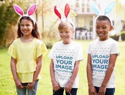 T-Shirt Mockup of Three Kids Wearing Easter Bunny Ears 34249-r-el2