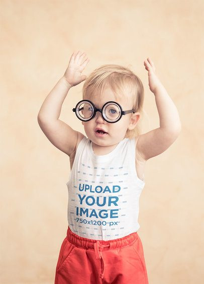Tank Top Mockup of a Baby Boy with Funny Glasses 34407-r-el2