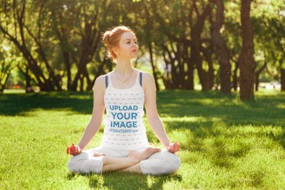 Tank Top Mockup of a Woman Doing Yoga on the Grass 34419-r-el2
