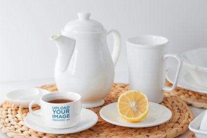 Mockup of a Teacup Featuring a Tea Set 34531-r-el2