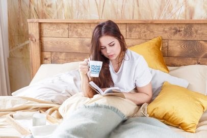 Coffee Mug Mockup of a Woman Reading in Bed 34530-r-el2