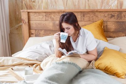 Coffee Mug Mockup of a Woman in Bed Reading a Novel 34529-r-el2