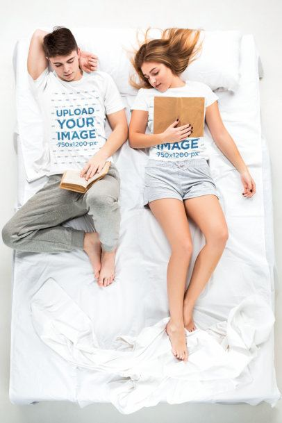 T-Shirt Mockup Featuring a Couple Reading in Bed 34401-r-el2