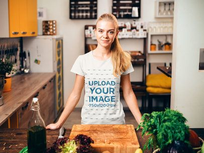 T-Shirt Mockup Featuring a Woman Getting Ready to Cook 34650-r-el2