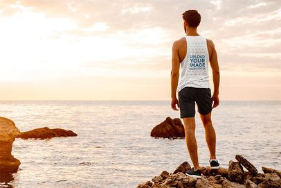 Back View Mockup of a Man with a Tank Top Looking at the Ocean 34200-r-el2