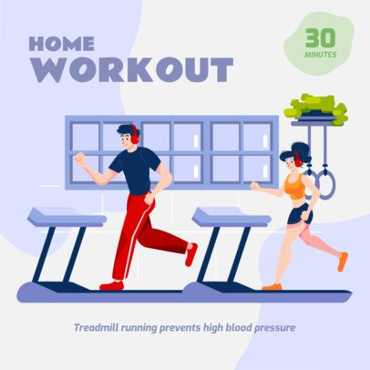 Instagram Post Template with an Illustration of People Working Out at Home 1482b-el1