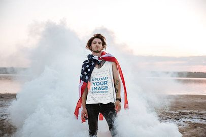 Tank Top Mockup of a Man with an American Flag 34202-r-el2