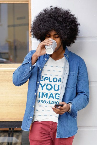 T-Shirt Mockup Featuring a Man with Curly Hair Drinking a Coffee 33830-r-el2